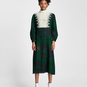 Zara PRINT LINEN DRESS WITH BIB-lace-ref 2731/048